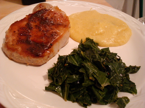 Maple pork loin chops with polenta and collard greens for Creamy polenta with mushrooms and collards